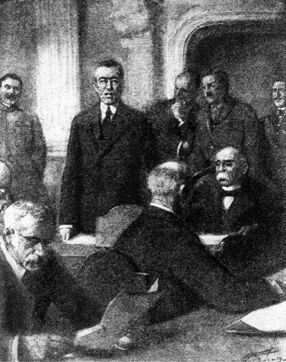 Image, tirée du magazine français «L'Illustration», montrant Georges Clémenceau (à droite assis) lors de l'ouverture de la conférence de paix de Paris, le 18 janvier 1919. Assis à gauche, le président des Etats-Unis d'Amérique, Woodrow Wilson.