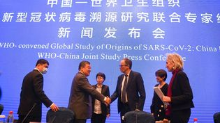 Au centre, Liang Wannian et Peter Ben Embarek, tous deux membres de l'équipe d'étude conjointe de OMS et de la Chine, se serrent la main après la conférence de presse à Wuhan (Chine), le 9 février 2021. (CHENG MIN / XINHUA / AFP)