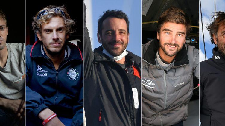 De gauche à droite, les skippers Charlie Dalin, Louis Burton, Boris Herrmann et Yannick Bestaven. (LOIC VENANCE / AFP)