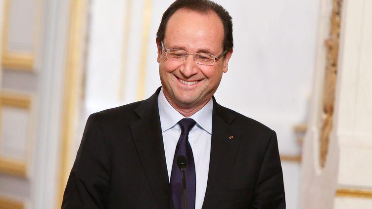 François Hollande, ici en mai 2013, ne s'est pas privé de traits d'humour et d'esprit, pendant son quinquennat. (MAXPPP)