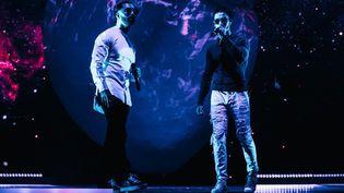 Les rappeurs de PNL sur la scène de Bercy, le 21 novembre 2017 à Paris. (PNL MUSIC)