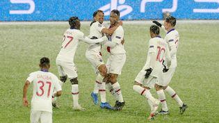 Les joueurs du PSG après avoir marqué face au Bayernen quarts de finale aller de la Ligue des Champions, le 7 avril 2021à Munich (Allemagne). (MARCEL ENGELBRECHT / FIRO SPORTPHOTO  / AFP)