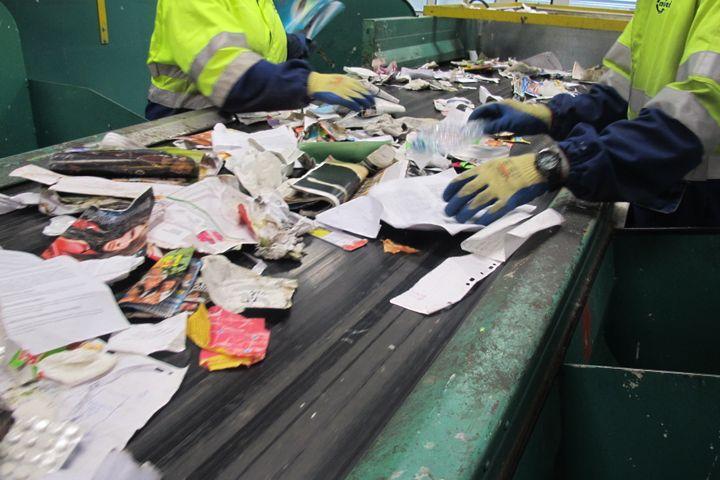 Des agents vérifient que le tri est bien fait, selon les matières, dans le centre du 15e arrondissement de Paris, le 18 juin 2015. (JULIE RASPLUS / FRANCETV INFO)