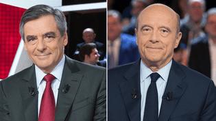 """François Fillon et Alain Juppé lors de leur passage dans """"L'Emission politique"""" sur France 2, en octobre 2016. (SIPA)"""