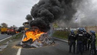 Des gendarmes sont déployés lors du blocage de la RN 12 par des agriculteurs, le 21 janvier 2016, dans les Côtes-d'Armor. (MAXPPP)