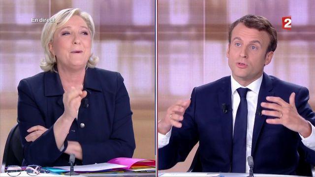 """Présidentielle : """"mensonges"""" contre """"bêtises"""" : passe d'armes entre Marine Le Pen et Emmanuel Macron"""
