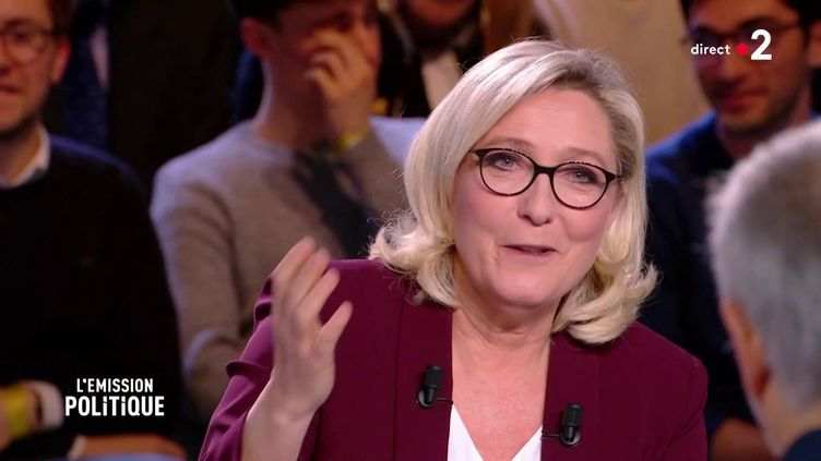 "Marine Le Pen sur le plateau de ""L'Emission politique"" de France 2, le 14 mars 2019.  (FRANCE 2)"