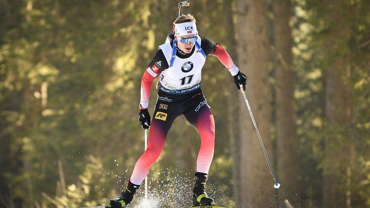 Johannes Boe, comme toujours, a assumé son statut de chef de meute pour la Norvège sacrée championne du monde du relais mixte. (JURE MAKOVEC / AFP)