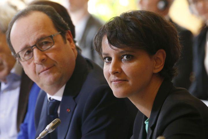 François Hollande etNajat Vallaud-Belkacem, le 17 mars 2015, à Paris. (CHARLES PLATIAU / AFP)