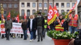 Défilé du 1er-Mai à Strasbourg (Bas-Rhin) en 2018. (PATRICK HERTZOG / AFP)
