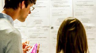 Deux jeunes regardent des annonces dans une agence Pôle emploi de Lille (Nord). (PHILIPPE HUGUEN / AFP)