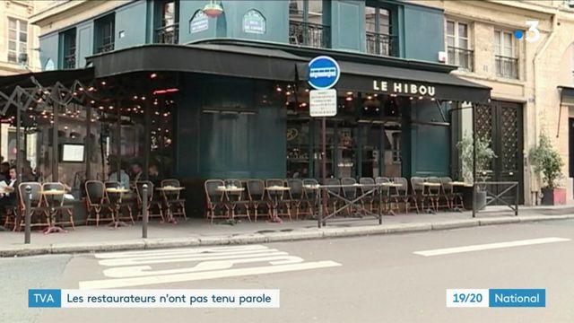 TVA : les restaurateurs n'ont pas tenu parole