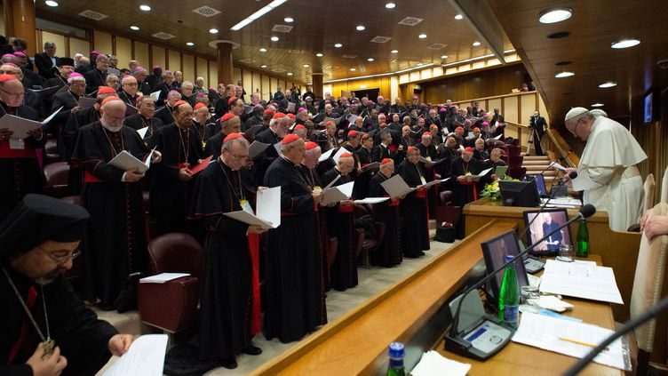 """La pape François s'adresse aux cardinaux, le 23 février 2019, lors d'un sommet au Vatican pour """"prévenir les abus contre les mineurs et les adultes vulnérables"""". (HANDOUT / VATICAN MEDIA / AFP)"""