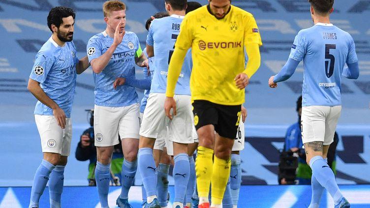 Kevin de Bruyne et Manchester City dominent Dortmund (1-0), mardi 6 avril. (PAUL ELLIS / AFP)