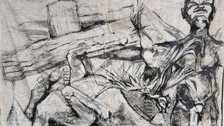 """Une oeuvre (détails)présentée à l'expostion""""Ange Arthur Koua & friends""""à la LouiSimone Guirandou Galleryd'Abidjan en Côte d'Ivoire. (ANGE-ARTHUR KOUA)"""