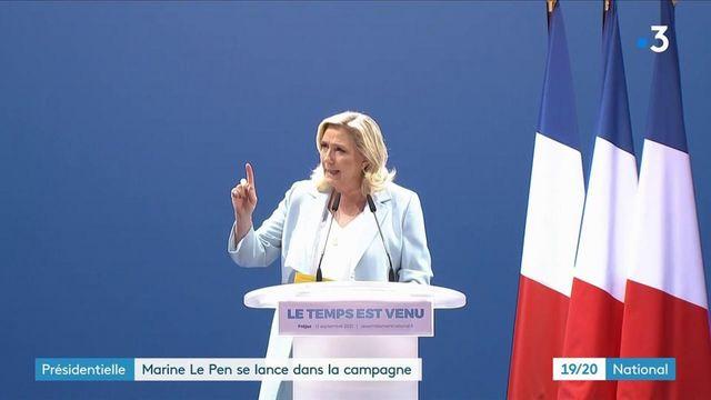 Élection présidentielle de 2022 : Marine Le Pen annonce sa candidature lors d'un rassemblement à Fréjus dans le Var