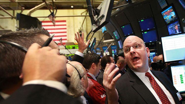New York, 2 octobre 2008. Des traders à la Bourse de New York. (SPENCER PLATT / GETTY IMAGES NORTH AMERICA)