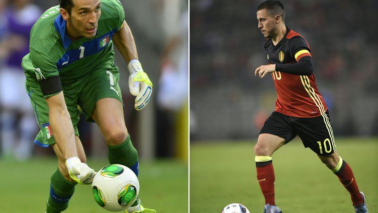 Le gardien Gianluigi Buffon face à Eden Hazard, l'un des duels attendus de ce Belgique-Italie (YURI CORTEZ,JOHN THYS / AFP)