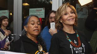 Jane Fonda manifeste contre Wells Fargo à Hollywood (21 décembre 2016)  (Tommasco Boddi / AFP)