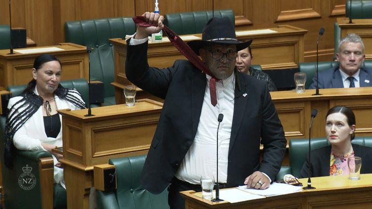 Le député maoriRawiri Waititi, au Parlement néo-zélandais, mardi 9 février 2021. (- / TVNZ)