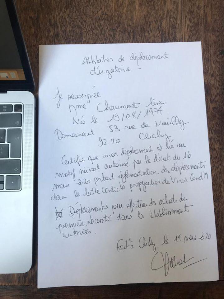 L'attestation de déplacement dérogatoire de Lisa, le 19 mars 2020. (LISA / FRANCEINFO)