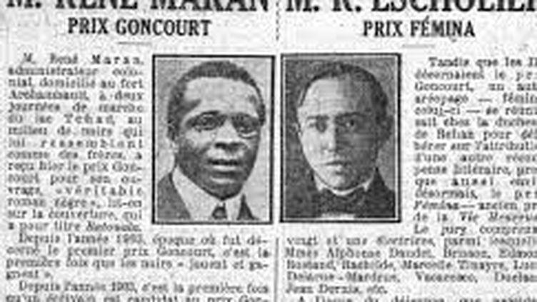Article du petit Parisien sur René Maran, premier prix Goncourt noir en 1921 (Le Petit Parisien du 15 décembre 1921 • ©DR)