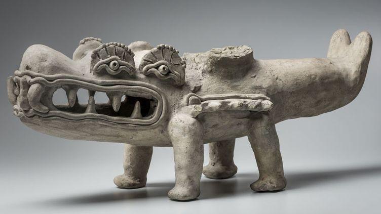 Caïman mythique avec quatre yeux, 400 av-JC - 400 après JC, culture de La Tolita  (musée du quai Branly, photo Christoph Hirtz)