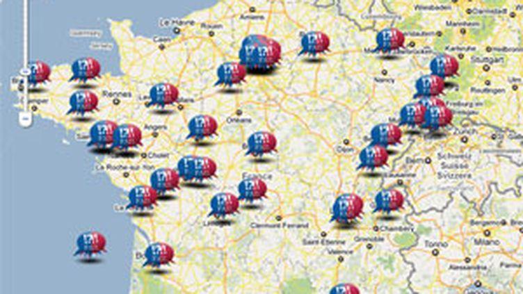Carte des divisions de la droite et des erreurs de programme de l'UMP (© PS/Google)