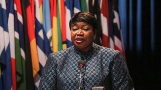 La procureure la Cour pénale internationale (CPI), Fatou Bensouda, lors de la 18e session de l'Assemblée des Etats parties de la CPI, tenue à La Haye, aux Pays-Bas, le 2 décembre 2019. (ABDULLAH ASIRAN / ANADOLU AGENCY)