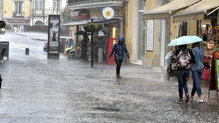 Le centre-ville de Sète (Hérault) sous une pluie battante, le 11 juin 2018. (MAXPPP)