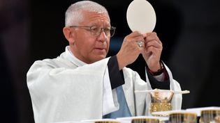L'archevêque Luc Ravel lors de la messe de l'Assomption, le 15 août 2019, à Lourdes (Hautes-Pyrénées). (PASCAL PAVANI / AFP)
