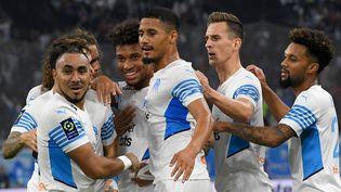 Les Marseillais se sont imposés face à Lorient, dans le cadre de la 10e journée de Ligue 1, le 17 octobre 2021 au Vélodrome. (NICOLAS TUCAT / AFP)