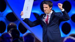 Tony Estanguet,coprésident du comité de candidature Paris 2024, après l'annonce de la victoire de Paris, le 13 septembre 2017. (FABRICE COFFRINI / AFP)