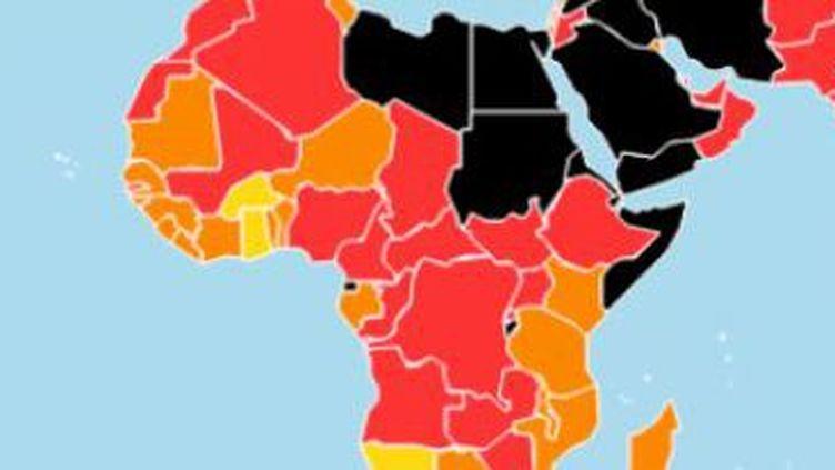 Carte de la liberté de la presse en Afrique selon le rapport 2018 de Reporters sans Frontières. (RSF)
