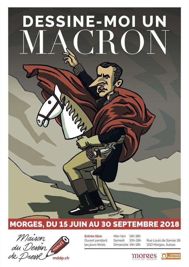 """Affiche de l'exposition """"Dessine-moi un Macron"""". Le dessinateur Hermann représente un """"Macron"""" version Napoléon  (Hermann/Maison du dessin de presse, Morges 2018)"""