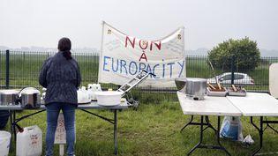 Une femme hostile au projet Europacity à Gonesse (Val-d'Oise), le 19 mai 2019. (ALAIN JOCARD / AFP)