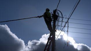 Un employé d'ERDF connecte un générateur après que des chutes de neige ont privé d'électricité de nombreux foyers, le 14 mars 2013 à Barfleur (Basse-Normandie). (ALAIN JOCARD / AFP)