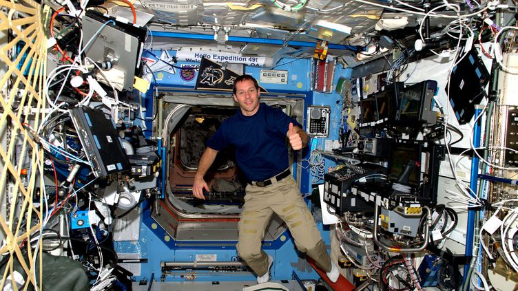 L'astronaute Thomas Pesquet à bord de la Station spatiale internationale (ISS), le 22 novembre 2016. (MAXPPP)