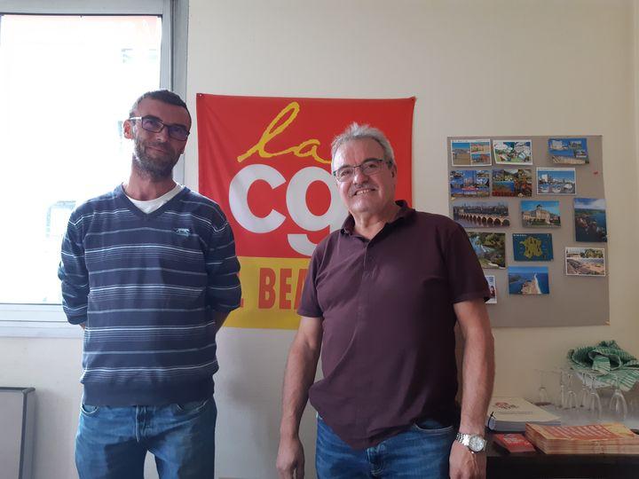 Emmanuel Villain, actuel délégué CGT et José Bailadeira, son prédécesseur à ce poste. Ils espérent un redémarrage rapide de l'usine. (Sarah Tuchscherer / Franceinfo)