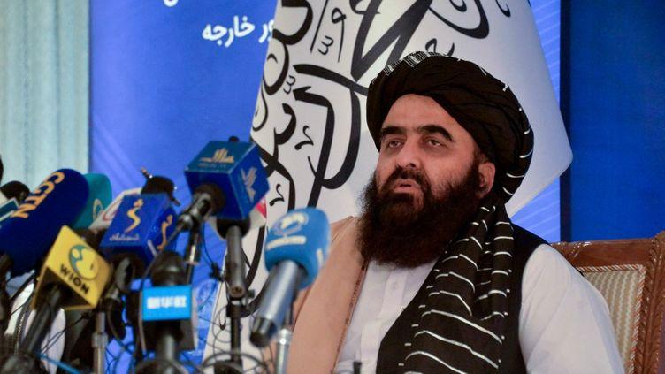 Le ministre des Affaires étrangères de l'Afghanistan,Amir Khan Muttaqi, le 14 septembre 2021 à Kaboul. (HOSHANG HASHIMI / AFP)