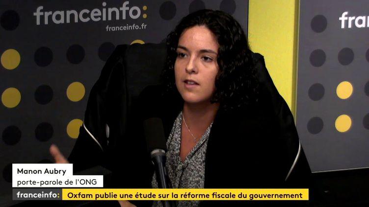 Manon Aubry,porte-parole d'Oxfam, le 25 septembre 2017. (FRANCEINFO)