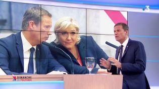 """Nicolas Dupont-Aignan sur le plateau de """"Dimanche en politique"""", l'émission dominicale de France 3, le 3 juin 2018. (FRANCE 3)"""