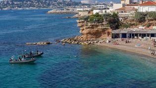 La plage des Goudes, à Marseille (Bouches-du-Rhône), lundi 25 mai 2020. (MAXPPP)