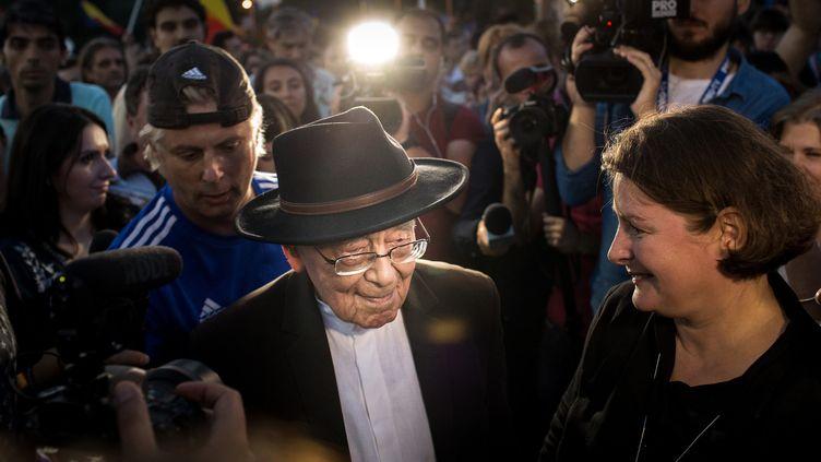 Mihai Sora dans la foule, juin 2018  (Adrian CATU / AFP)