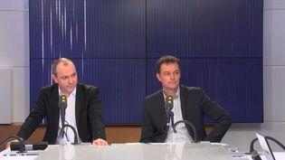 Laurent Berger, secrétaire général de la CFDT, et Christophe Robert, délégué général de la Fondation Abbé-Pierre, étaient les invités de franceinfo mardi 5 mars (FRANCEINFO / RADIOFRANCE)