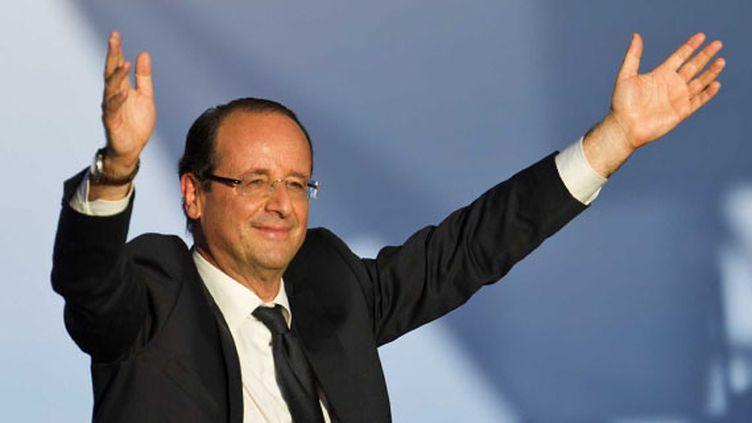 Le candidat socialiste François Hollande en meeting à Toulouse (Haute-Garonne), le 3 mai 2012. (FREDERIC LANCELOT / SIPA)