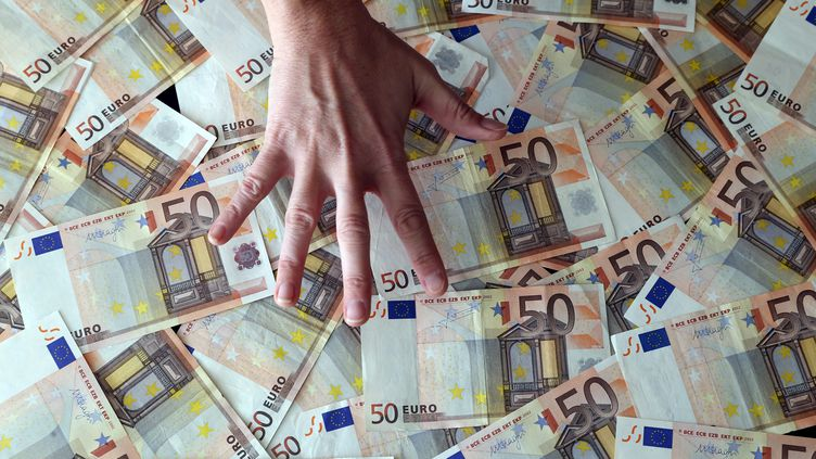 De nombreux billets de 50€. Photo d'illustration. (LIONEL VADAM  / MAXPPP)