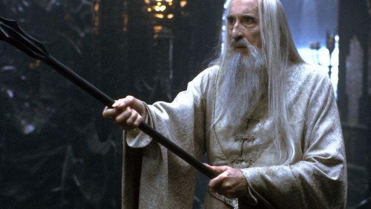 """L'acteur Christopher Lee, incarnant le sorcier Saroumane dans la saga """"Le Seigneur des anneaux"""" et le film """"La Communauté de l'anneau"""" (2001). (ENTERPRESS NLC / DPA_NLC  /AFP)"""
