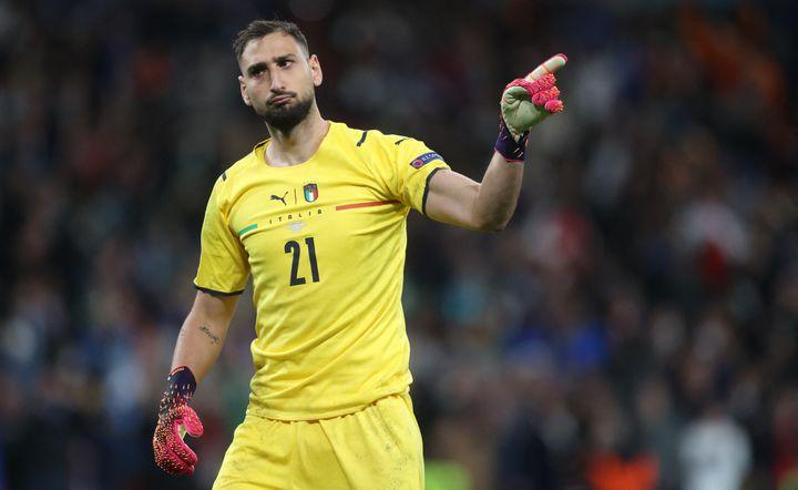 Gianluigi Donnarumma lors de la demi-finale entre l'Italie et l'Espagne, le 6 juillet à Londres (CARL RECINE / AFP)