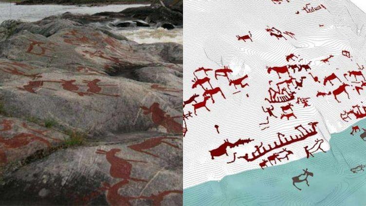 Peintures sur le site rupestre de Nämforsen (Suède) et visualisation numérique (à droite). (MARK SAPWELL)